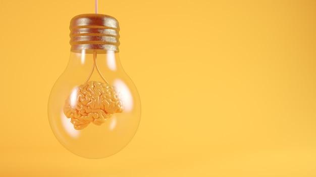 Cerveau sur rendu 3d concept ampoule
