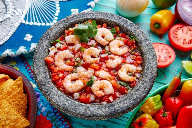 Ceviche de camaron molcajete de crevettes du mexique
