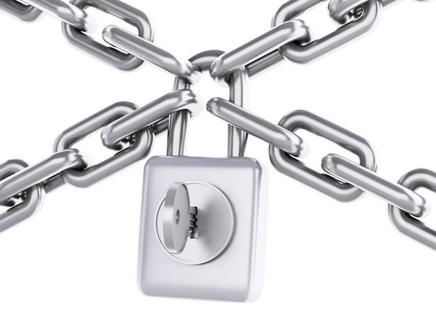 Chaîne 3d avec cadenas. concept de sécurité