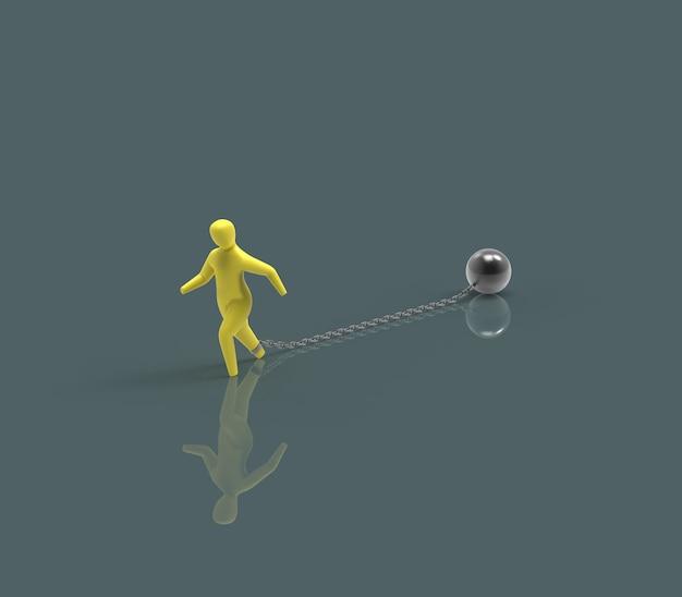 Chaîne et boule - illustration 3d