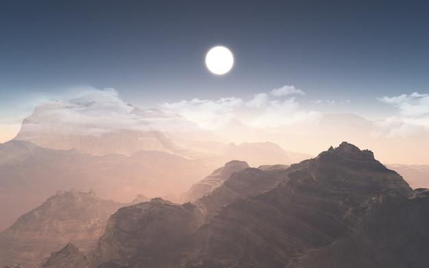Chaîne de montagnes 3d avec des nuages bas