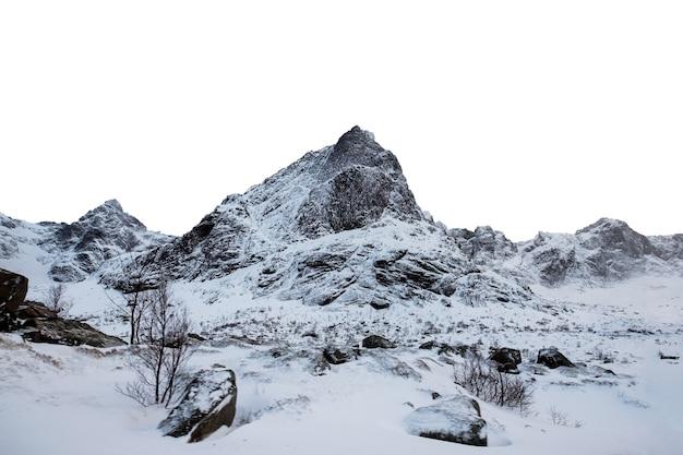 Chaîne de montagnes enneigées en hiver dans les îles lofoten