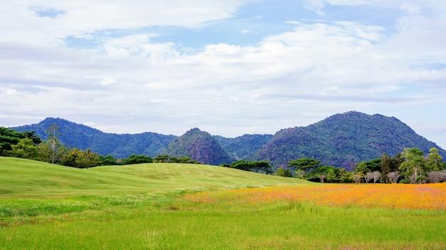 Chaîne de montagnes et pré au parc singha chiang rai, en thaïlande.