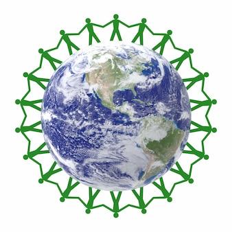 Chaîne de papier les gens verts du monde entier