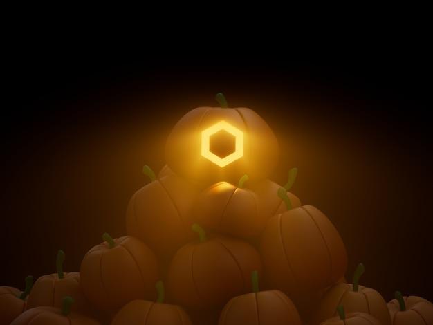 Chainlink sculpté citrouille pile pile crypto monnaie 3d illustration rendu éclairage sombre