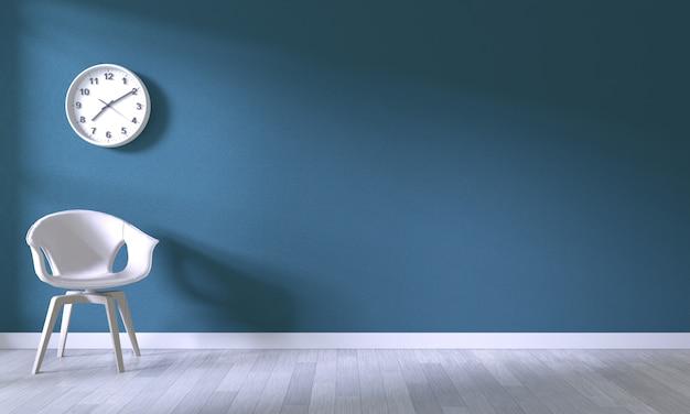 Chaise blanche sur fond de mur bleu foncé