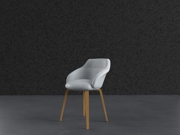 Chaise blanche avec pieds en bois isolé fond gris studio image premium phot