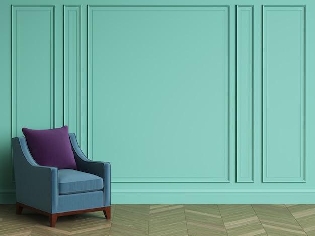 Chaise bleue dans un intérieur classique avec espace copie. murs de couleur turquoise avec moulures. parquet au sol à chevrons. rendu 3d