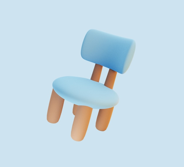 Chaise bleue mignonne en rendu 3d