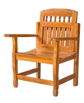 Chaise en bois antique isolé sur blanc avec un tracé de détourage