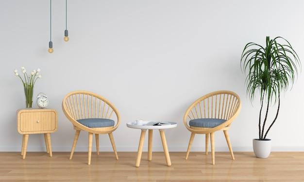 Chaise en bois dans la salle blanche pour la maquette