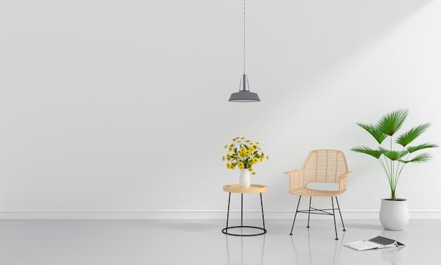 Chaise en bois dans la salle blanche pour maquette