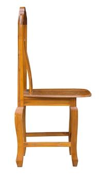 Chaise en bois isolée sur blanc avec un tracé de détourage