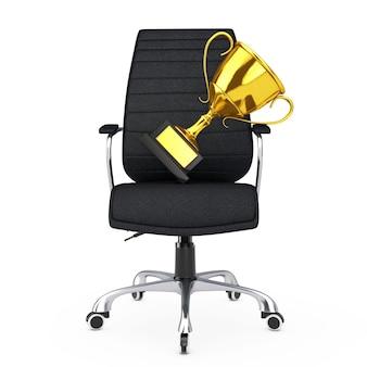 Chaise de bureau boss en cuir noir avec trophée d'or sur fond blanc. rendu 3d.