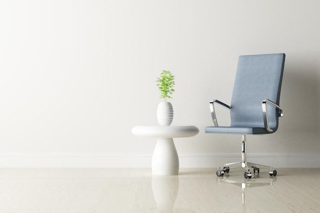 Chaise de bureau et intérieur mur blanc décoré