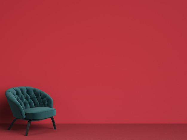 Chaise capitonnée classique en vert émeraude avec espace copie