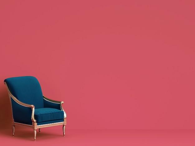Chaise classique en bleu et or sur mur rose avec espace copie