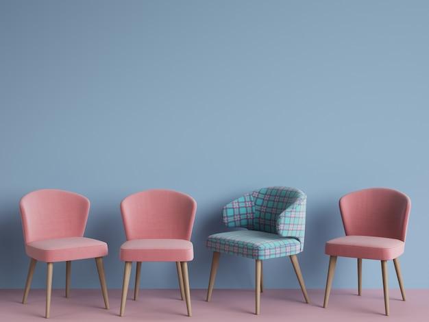 Chaise de couleur tartan bleu et rose parmi les roses sur mur bleu avec espace de copie. rendu 3d