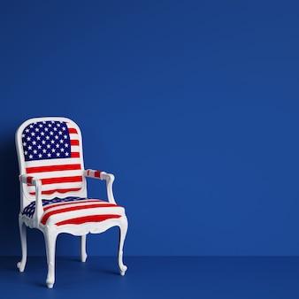 Chaise drapeau usa sur chambre bleue avec espace copie. rendu 3d