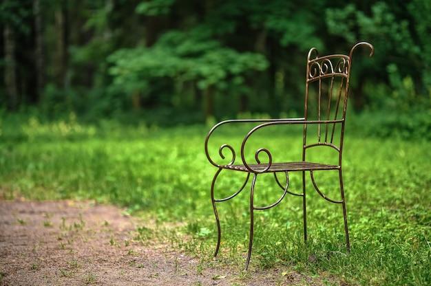 Chaise d'extérieur en métal en fer forgé dans le parc.
