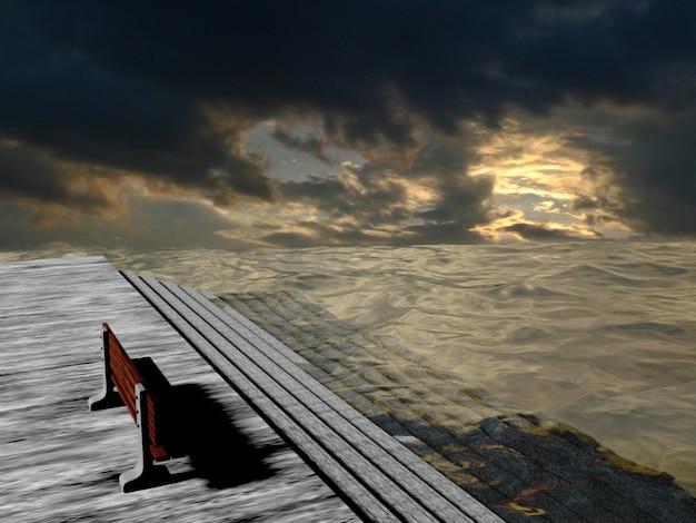 Chaise avec fond rivière, surface de l'eau avec des ondulations au coucher du soleil