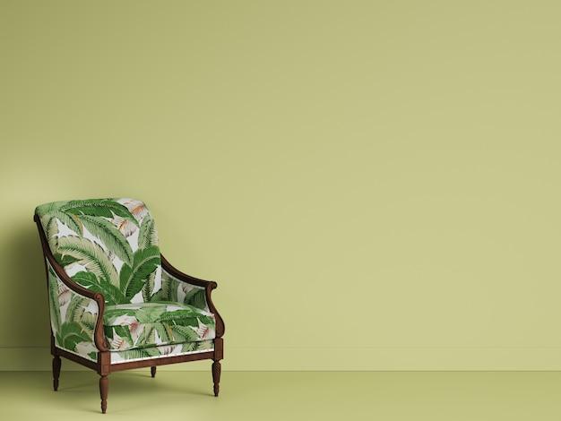 Chaise geen classique dans une salle verte avec espace copie. rendu 3d
