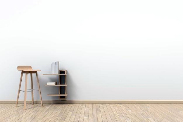Une chaise haute est idéale pour lire des livres dans une pièce avec des murs blancs