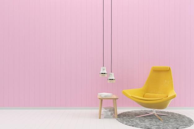 Chaise jaune rose pastel mur blanc plancher de bois fond texture tapis livre lampe