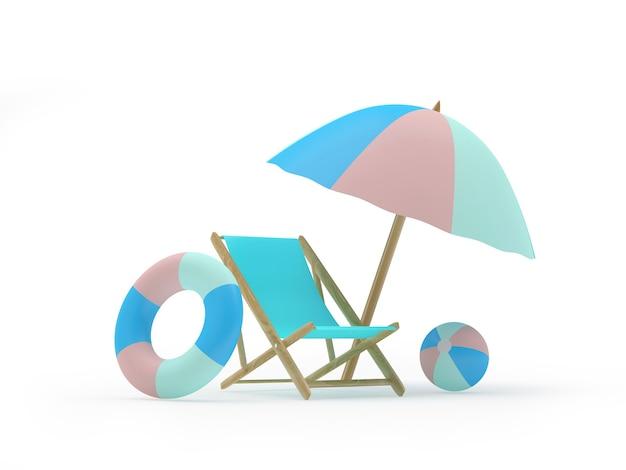 Chaise longue avec bouées de sauvetage sous un parasol