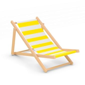 Chaise longue isolée couleur jaune et blanc