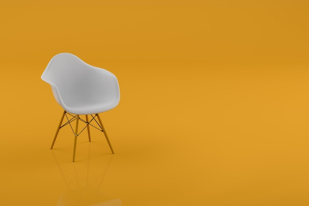Chaise moderne dans une chambre jaune pastel avec espace de copie. notion minimale. rendu 3d