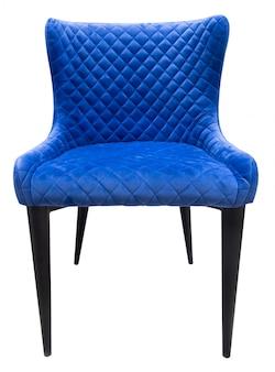 Chaise moderne en velours bleu avec dossier debout droit isolé