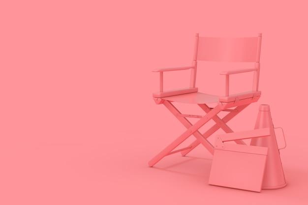 Chaise de réalisateur rose, movie clapper et mégaphone en style duotone sur fond rose. rendu 3d