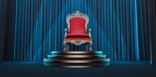 Chaise royale rouge sur fond de rideaux noirs. rendu 3d