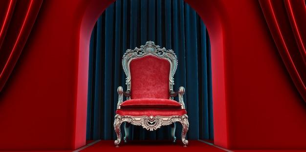 Chaise royale rouge sur fond de rideaux rouges et noirs. rendu 3d