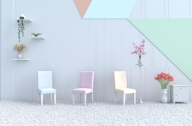 Chaise de salon pastel, mur, orchidée, tulipe, tapis. noël, nouvel an. rendu 3d