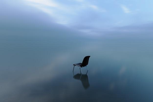 Chaise unique reflétant sur une surface de l'eau un jour de tempête