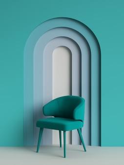 Chaise verte dans un style moderne avec mur avec arc en différentes couleurs bleues