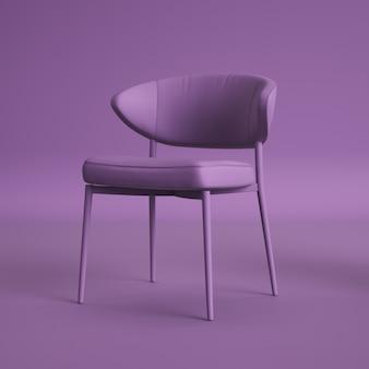 Chaise violette sur chambre violette. concept minimal. rendu 3d