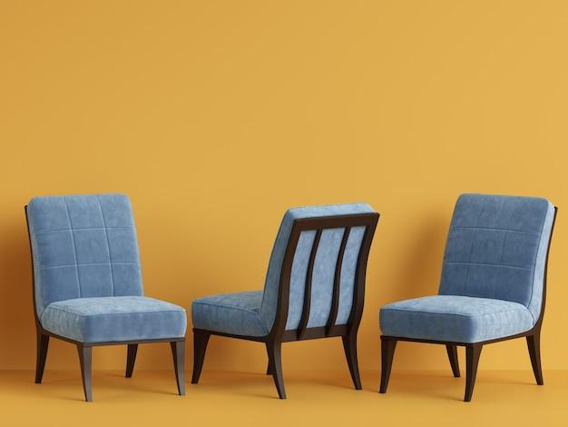 Chaises bleues avec espace copie. concept de minimalisme. rendu 3d