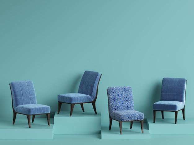 Chaises bleues sur podium. concept de minimalisme. rendu 3d