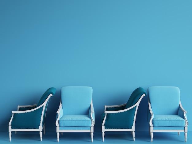 Des chaises classiques bleues sont debout dans une pièce bleue vide. concept de minimalisme. rendu 3d