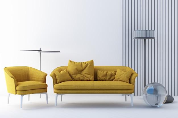 Chaises de couleur jaune et grise, canapé, fauteuil en arrière-plan vide. entourant par la forme géométrique concept de minimalisme et d'art d'installation. maquette de rendu 3d