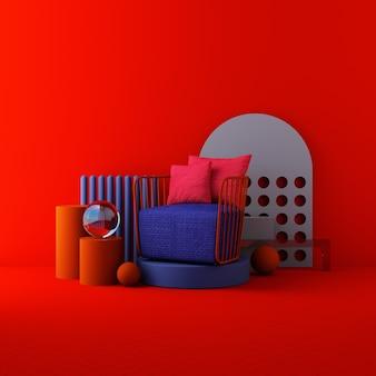 Chaises de couleur rouge et bleue, canapé, fauteuil en arrière-plan vide. entourant par la forme géométrique concept d'art d'installation de minimalisme. maquette de rendu 3d
