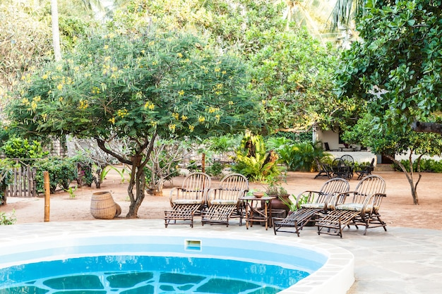 Chaises élégantes en bois près d'une piscine à l'intérieur d'un jardin kenyan