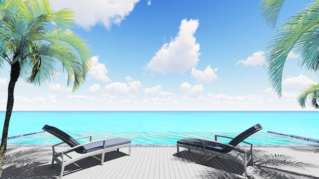 Chaises inclinables de rendu 3d près d'une piscine à débordement avec la mer et le fond de ciel bleu