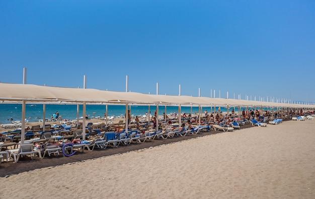 Chaises longues et parasols sur la plage
