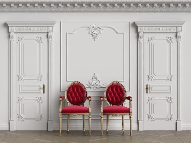 Chaises de sculpteur classique à l'intérieur avec espace copie