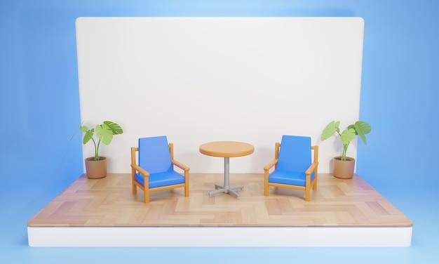 Chaises et table sur la scène en bois