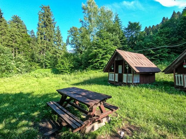 Chalet en bois et banc en forêt pour la vie à distance